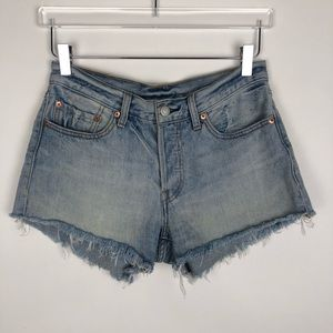 Levi's 501 | Faded Button Fly Frayed Jean Shorts
